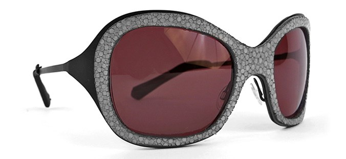 Lunettes de Soleil Ralph Vaessen corne et cuir galuchat The house of eyewear opticien paris